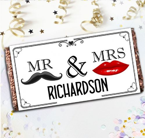 Personalised Mr & Mrs Milk Chocolate Bar - Guest Table Favors Gift N134 Lips & Mustache